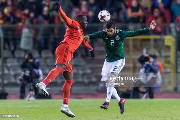 Romelu Lukaku of Belgium Nestor Araujo of Mexico during the friendly match between Belgium and Mexico on November 10 2017 at the Koning Boudewijn...