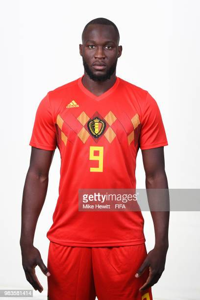 Romelu Lukaku of Belgium poses for a portrait during the official FIFA World Cup 2018 portrait session at the Moscow Country Club on June 14 2018 in...