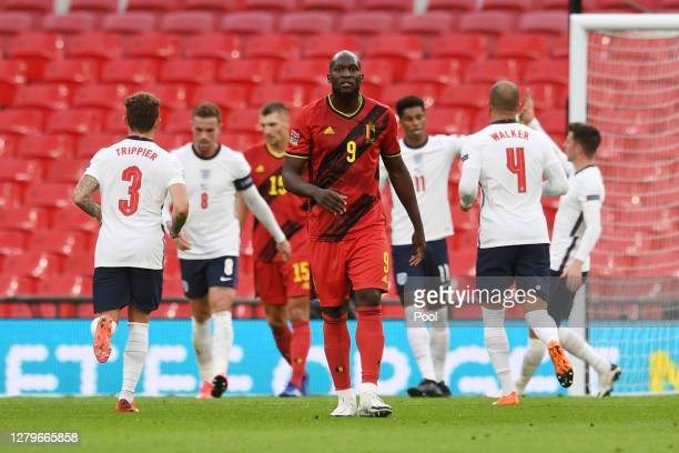 Romelu Lukaku of Belgium reacts after England scores during the UEFA Nations League group stage match between England and Belgium at Wembley Stadium...