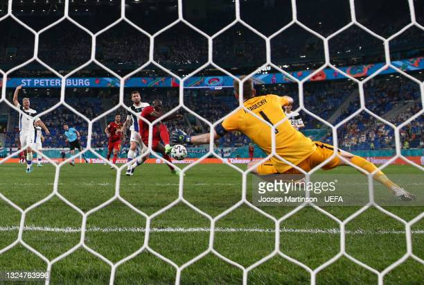 Romelu Lukaku of Belgium scores a goal past Lukas Hradecky of Finland which is later disallowed by VAR for offside during the UEFA Euro 2020...