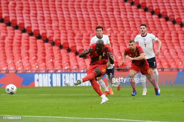 Romelu Lukaku of Belgium scores his sides first goal from the penalty spot during the UEFA Nations League group stage match between England and...
