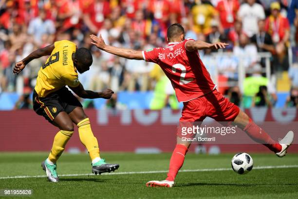 Romelu Lukaku of Belgium scores his sides second goal during the 2018 FIFA World Cup Russia group G match between Belgium and Tunisia at Spartak...