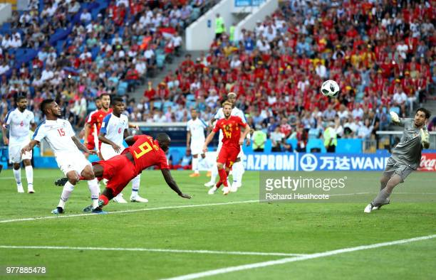 Romelu Lukaku of Belgium scores his team's second goal during the 2018 FIFA World Cup Russia group G match between Belgium and Panama at Fisht...