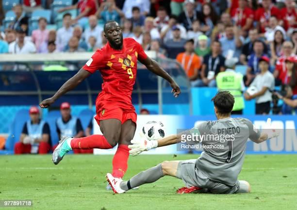 Romelu Lukaku of Belgium scores his team's third goal during the 2018 FIFA World Cup Russia group G match between Belgium and Panama at Fisht Stadium...