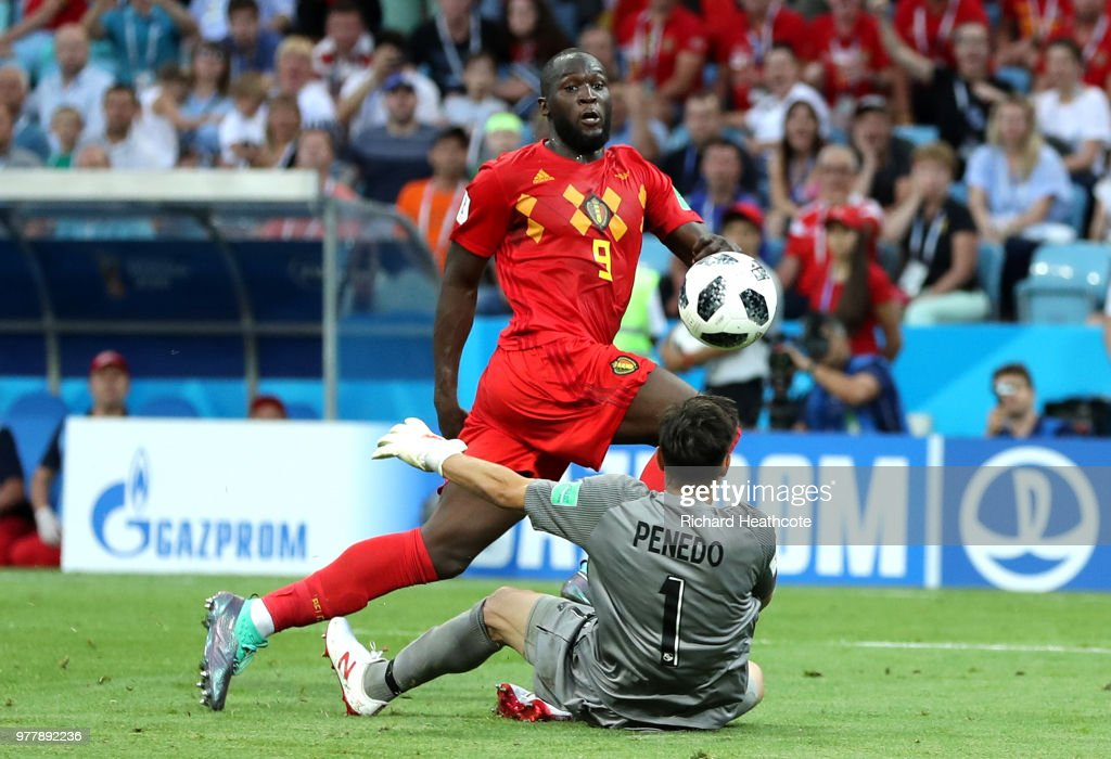 Romelu Lukaku of Belgium scores his team's third goal during the 2018 FIFA World Cup Russia group G match between Belgium and Panama at Fisht Stadium on June 18, 2018 in Sochi, Russia.
