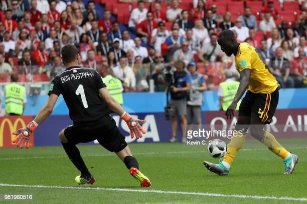 Romelu Lukaku of Belgium scores his team's third goal past Farouk Ben Mustapha of Tunisia during the 2018 FIFA World Cup Russia group G match between...