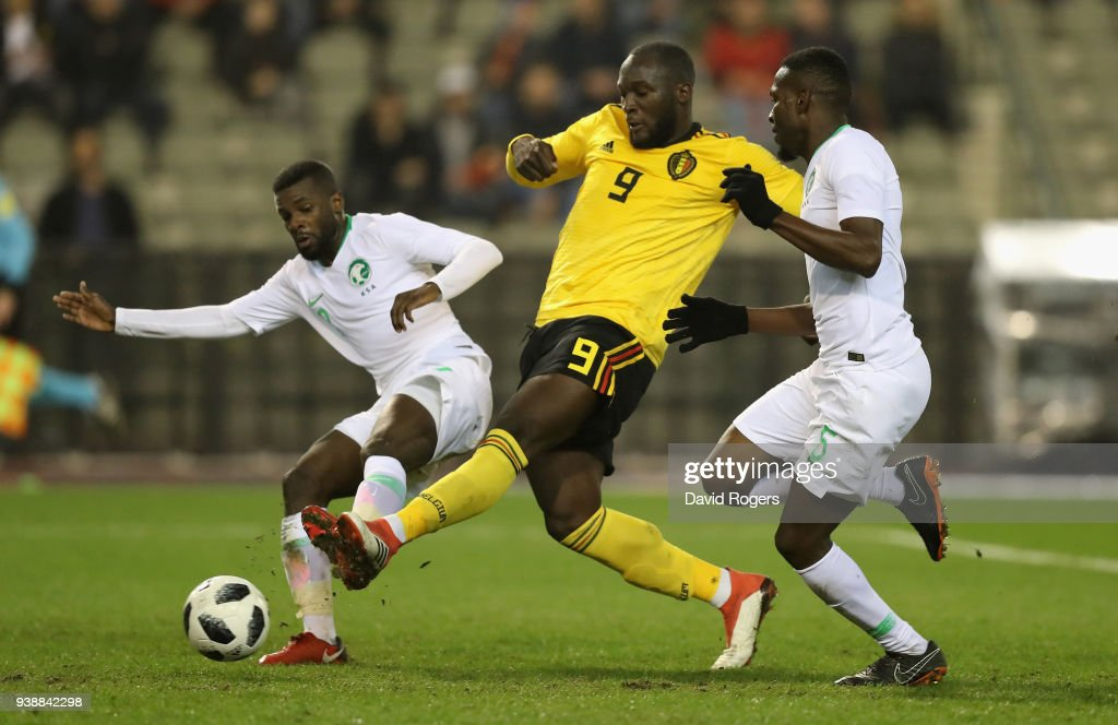 Romelu Lukaku (C) of Belgium scores scores his second goal during the international friendly match between Belgium and Saudi Arabia at the King Baudouin Stadium on March 27, 2018 in Brussels, Belgium.