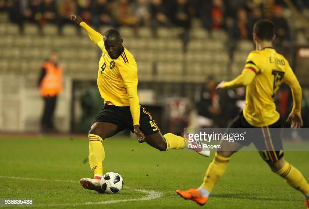 Romelu Lukaku of Belgium scores their first goal during the international friendly match between Belgium and Saudi Arabia at the King Baudouin...