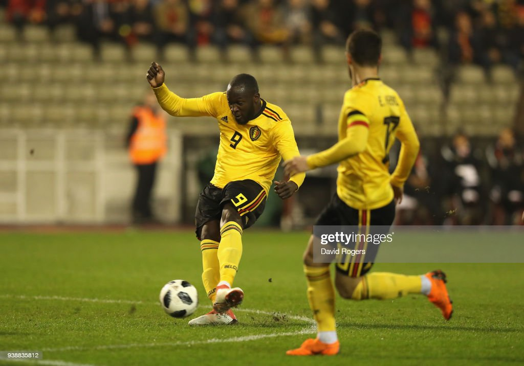 Romelu Lukaku of Belgium scores their first goal during the international friendly match between Belgium and Saudi Arabia at the King Baudouin Stadium on March 27, 2018 in Brussels, Belgium.