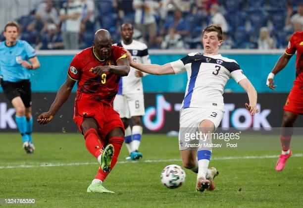 Romelu Lukaku of Belgium scores their team's second goal during the UEFA Euro 2020 Championship Group B match between Finland and Belgium at Saint...