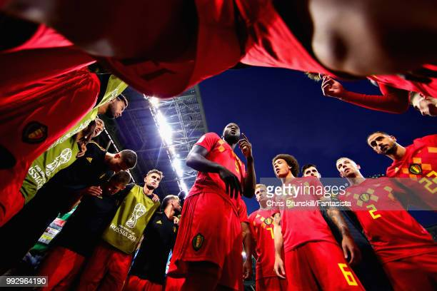 Romelu Lukaku of Belgium talks to his team before the 2018 FIFA World Cup Russia Quarter Final match between Brazil and Belgium at Kazan Arena on...