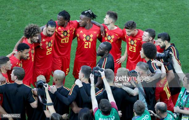 Romelu Lukaku of Belgium talks to his teammates during a team huddle prior to the 2018 FIFA World Cup Russia group G match between England and...