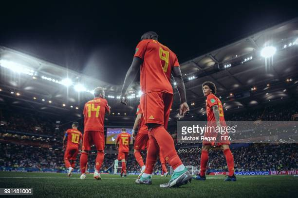 Romelu Lukaku of Belgium walks out for the 2nd half with team mates Dries Mertens and Axel Witsel during the 2018 FIFA World Cup Russia Round of 16...