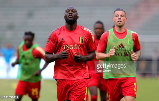 Romelu Lukaku of Belgium warms up prior to the international friendly match between Belgium and Greece at King Baudouin Stadium on June 03, 2021 in...