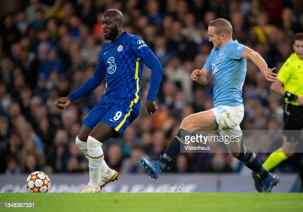 Romelu Lukaku of Chelsea and Franz Brorsson of Malmo FF during the UEFA Champions League group H match between Chelsea FC and Malmo FF at Stamford...