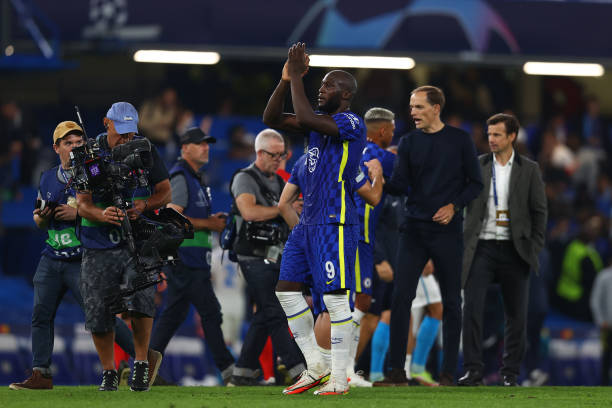 Romelu Lukaku of Chelsea applauds fans after the UEFA Champions League group H match between Chelsea FC and Zenit St. Petersburg at Stamford Bridge...