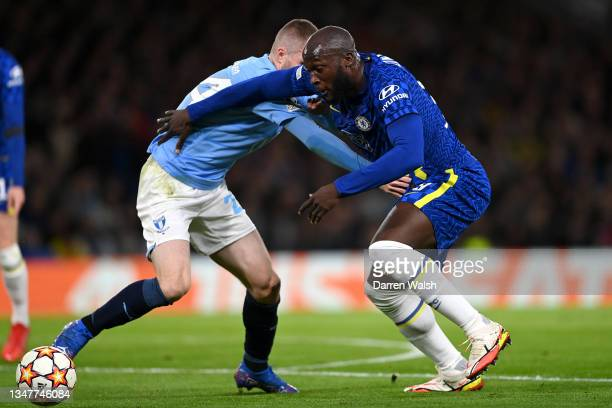 Romelu Lukaku of Chelsea battles for possession with Lasse Nielsen of Malmo FF during the UEFA Champions League group H match between Chelsea FC and...