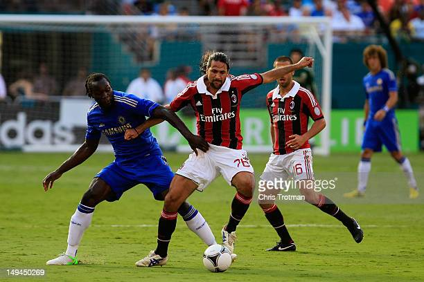 Romelu Lukaku of Chelsea battles with Mario Yepes of Milan during the during the Herbalife World Football Challenge 2012 at Sun Life Stadium on July...
