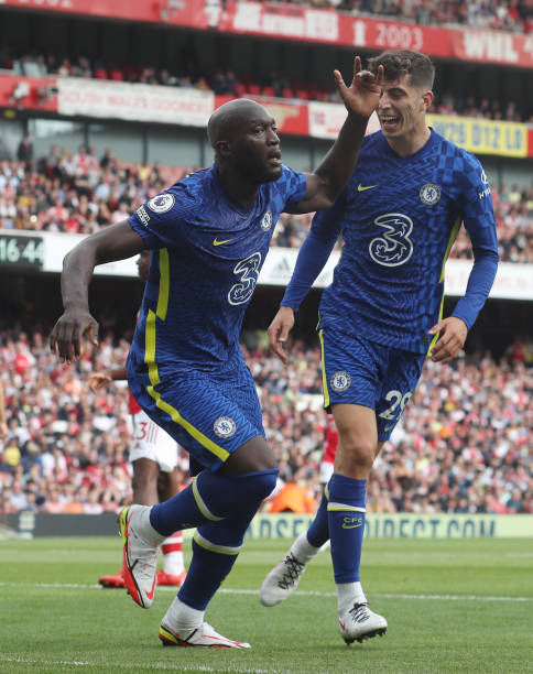 Romelu Lukaku of Chelsea celebrates after scoring the opening goal, with Kai Havertz during the Premier League match between Arsenal and Chelsea at...