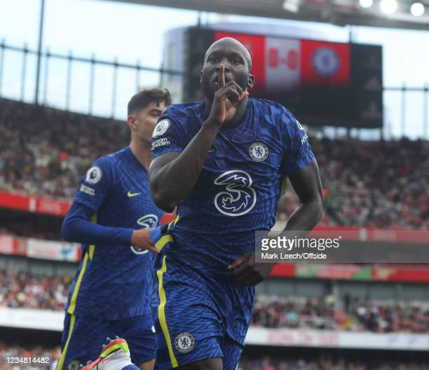 Romelu Lukaku of Chelsea celebrates after scoring the opening goal during the Premier League match between Arsenal and Chelsea at Emirates Stadium on...