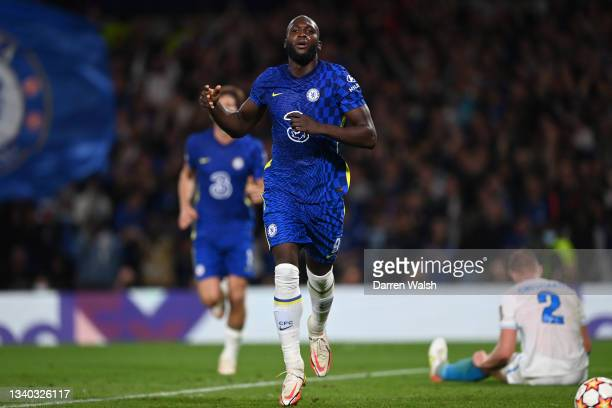 Romelu Lukaku of Chelsea celebrates after scoring their side's first goal during the UEFA Champions League group H match between Chelsea FC and Zenit...