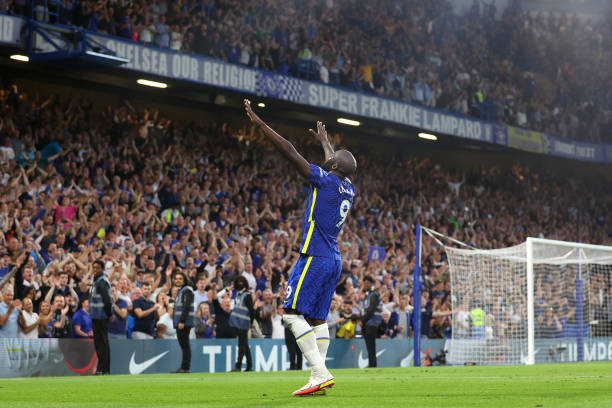 Romelu Lukaku of Chelsea celebrates after scoring their side's third goal during the Premier League match between Chelsea and Aston Villa at Stamford...