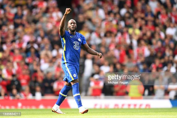 Romelu Lukaku of Chelsea celebrates his goal in action during the Premier League match between Arsenal and Chelsea at Emirates Stadium on August 22,...