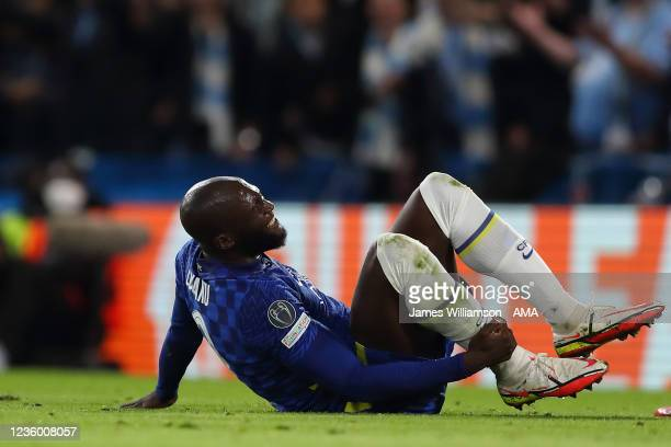 Romelu Lukaku of Chelsea clutches his ankle after being fouled during the UEFA Champions League group H match between Chelsea FC and Malmo FF at...