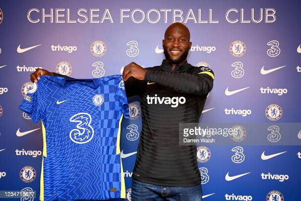 Romelu Lukaku of Chelsea during his unveiling as a Chelsea player at Chelsea Training Ground on August 16, 2021 in Cobham, England.