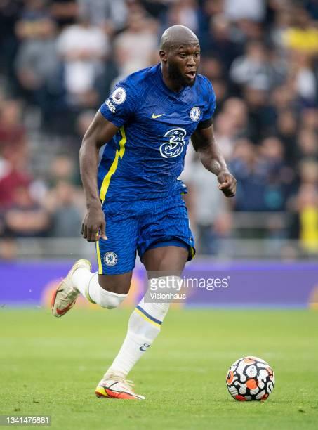 Romelu Lukaku of Chelsea during the Premier League match between Tottenham Hotspur and Chelsea at Tottenham Hotspur Stadium on September 19, 2021 in...