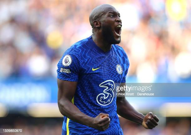 Romelu Lukaku of Chelsea FC celebrates scoring his teams first goal during the Premier League match between Chelsea and Aston Villa at Stamford...