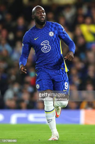 Romelu Lukaku of Chelsea FC during the UEFA Champions League group H match between Chelsea FC and Malmo FF at Stamford Bridge on October 20, 2021 in...
