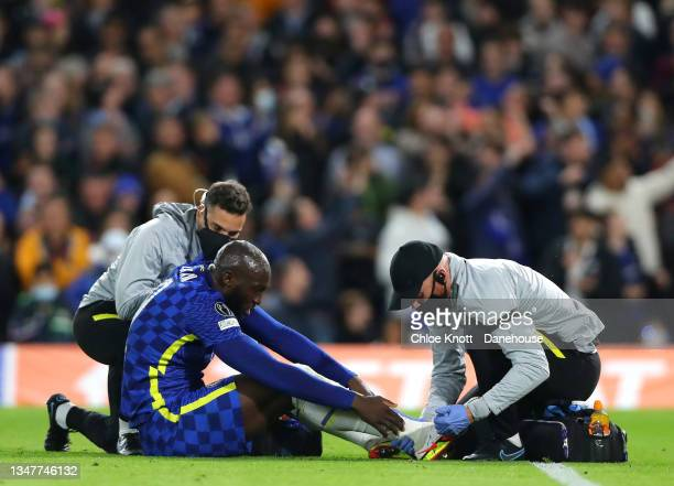 Romelu Lukaku of Chelsea FC receives medical attention during the UEFA Champions League group H match between Chelsea FC and Malmo FF at Stamford...