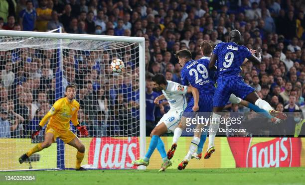 Romelu Lukaku of Chelsea FC scores his teams first goal during the UEFA Champions League group H match between Chelsea FC and Zenit St. Petersburg at...
