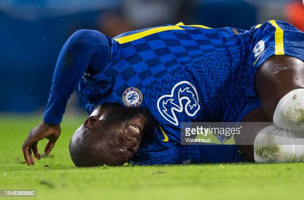 Romelu Lukaku of Chelsea holds his ankle after being injured whilst being tackled during the UEFA Champions League group H match between Chelsea FC...