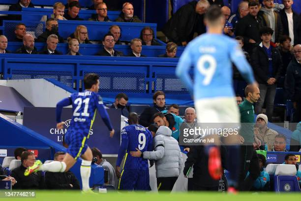 Romelu Lukaku of Chelsea is helped off the pitch after receiving medical treatment during the UEFA Champions League group H match between Chelsea FC...
