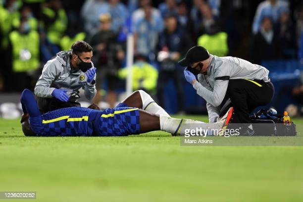 Romelu Lukaku of Chelsea is treated before leaving the game injured during the UEFA Champions League group H match between Chelsea FC and Malmo FF at...