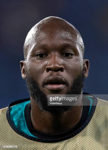 Romelu Lukaku of Chelsea prior to the UEFA Champions League group H match between Chelsea FC and Malmo FF at Stamford Bridge on October 20, 2021 in...