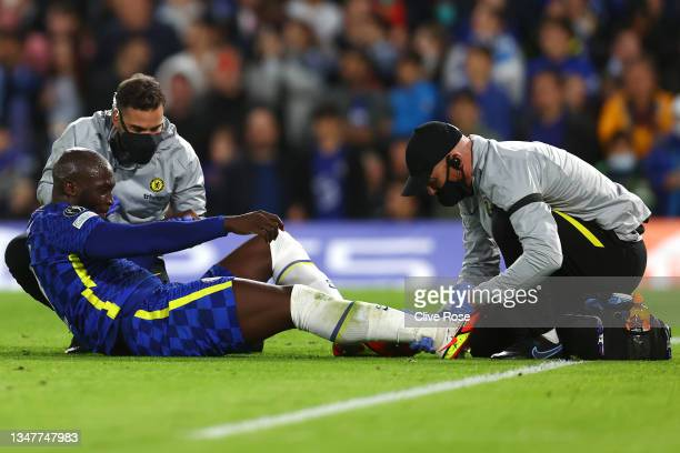 Romelu Lukaku of Chelsea receives medical treatment during the UEFA Champions League group H match between Chelsea FC and Malmo FF at Stamford Bridge...