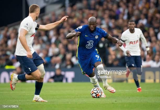 Romelu Lukaku of Chelsea runs at Eric Doer of Tottenham Hotspur during the Premier League match between Tottenham Hotspur and Chelsea at Tottenham...
