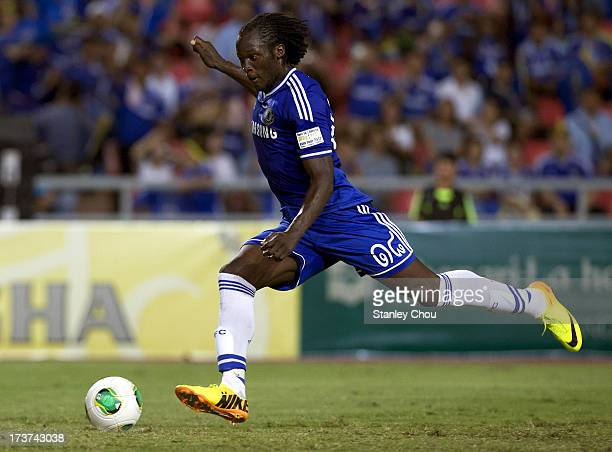 Romelu Lukaku of Chelsea scores from the penalty spot during the international friendly match between Chelsea FC and the Singha Thailand AllStar XI...