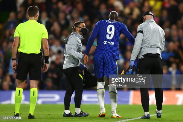 Romelu Lukaku of Chelsea walks off the pitch after receiving medical treatment during the UEFA Champions League group H match between Chelsea FC and...