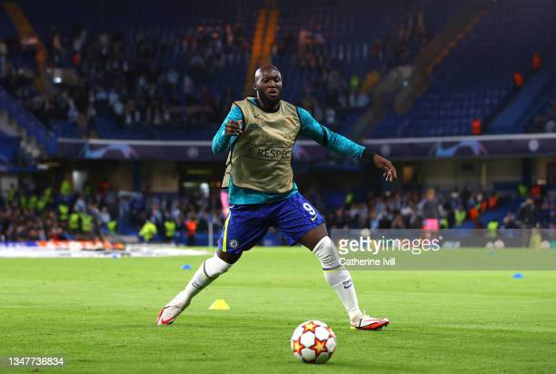 Romelu Lukaku of Chelsea warms up prior to the UEFA Champions League group H match between Chelsea FC and Malmo FF at Stamford Bridge on October 20,...