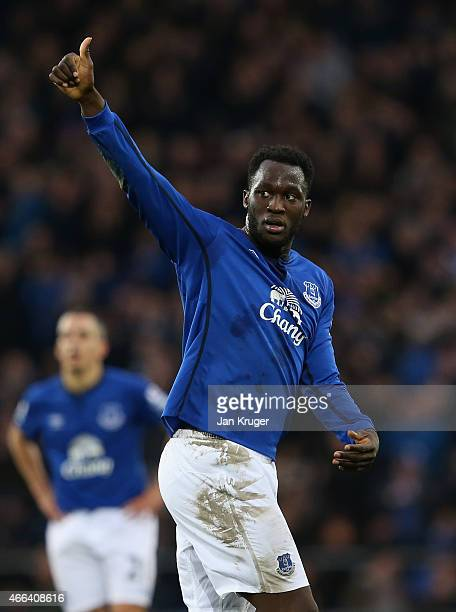 Romelu Lukaku of Everton acknowledges the fans during the Barclays Premier League match between Everton and Newcastle United at Goodison Park on...