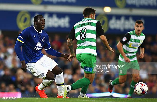 Romelu Lukaku of Everton and Alex Lawless of Yeovil Town in action during the EFL Cup second round match between Everton and Yeovil Town at Goodison...
