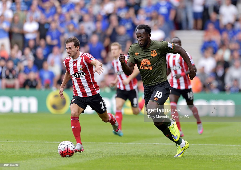 Romelu Lukaku of Everton and Cedric Soares (L) in action during the Barclays Premier League match between Southampton and Everton at St Mary's Stadium on August 15, 2015 in Southampton, United Kingdom.