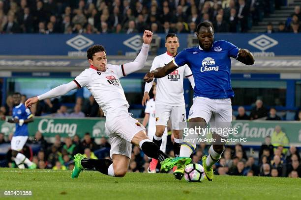Romelu Lukaku of Everton and Daryl Janmaat challenge for the ball during the Premier League match between Everton and Watford at Goodison Park on May...