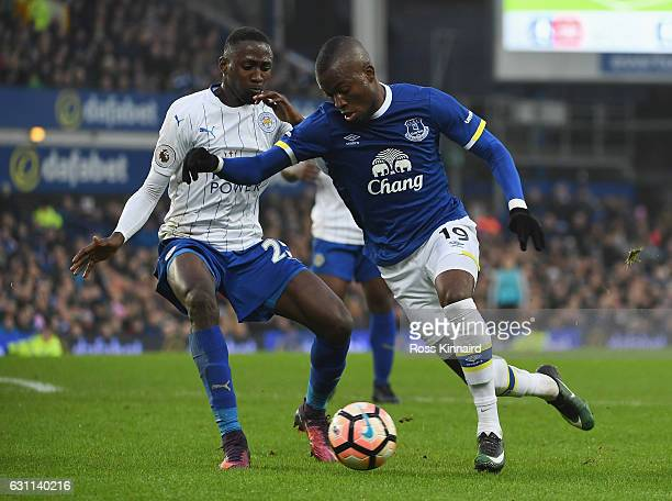 Romelu Lukaku of Everton and Nampalys Mendy of Leicester City compete for the ball during the Emirates FA Cup third round match between Everton and...