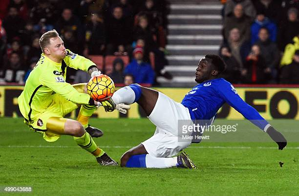 Romelu Lukaku of Everton and Ryan Allsop of Bournemouth compete for the ball during the Barclays Premier League match between A.F.C. Bournemouth and...