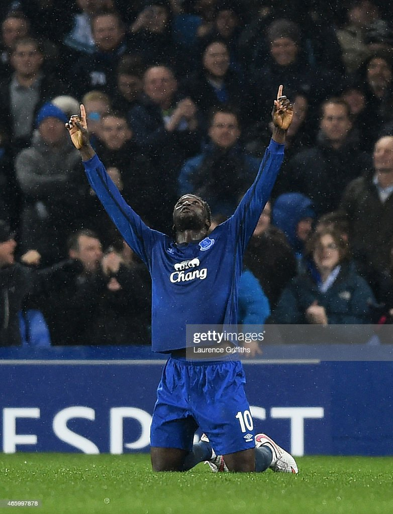Romelu Lukaku of Everton celebrates after scoring his team's second goal from the penalty spot during the UEFA Europa League Round of 16, first leg match between Everton and FC Dynamo Kyiv at Goodison Park on March 12, 2015 in Liverpool, United Kingdom.